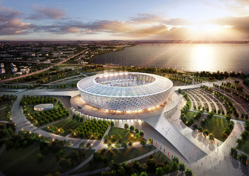 The Olympic Stadium in Baku, one of the host cities